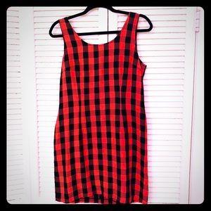🎉$10 SALE🎉VTG 90s plaid midi sleeveless dress